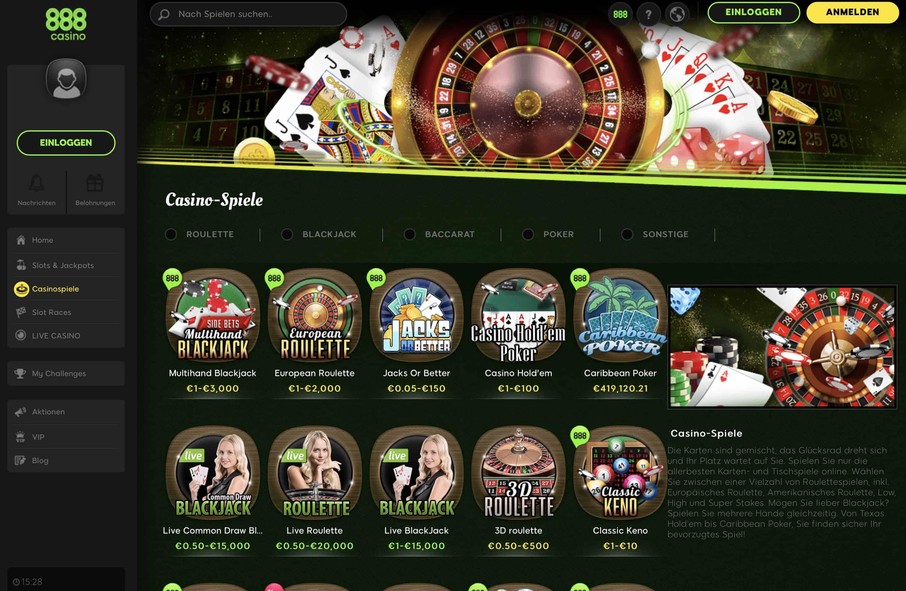 888 casino öffnet nicht