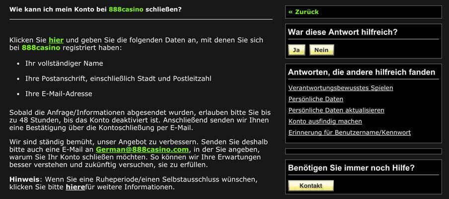 888 Casino Account kündigen / Konto löschen