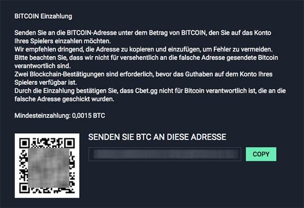 Cbet.gg Bitcoin Einzahlung
