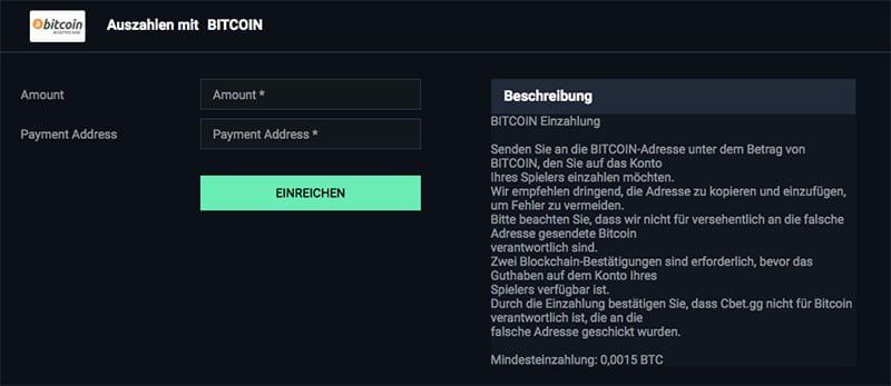 Bitcoin-Auszahlung bei Cbet.GG