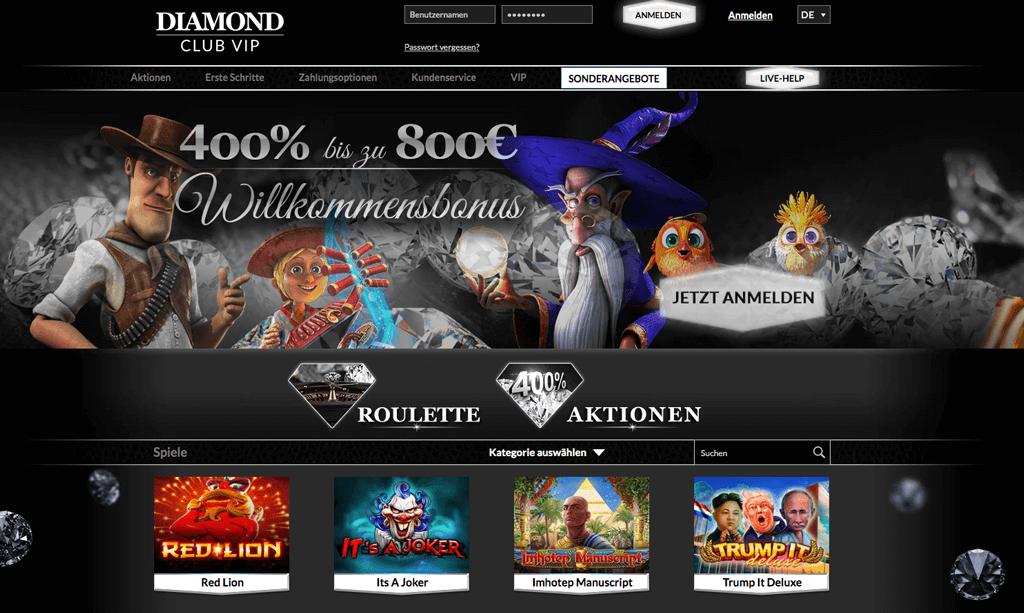 Diamond Club VIP Casino – Erfahrungen & Testbericht 2020