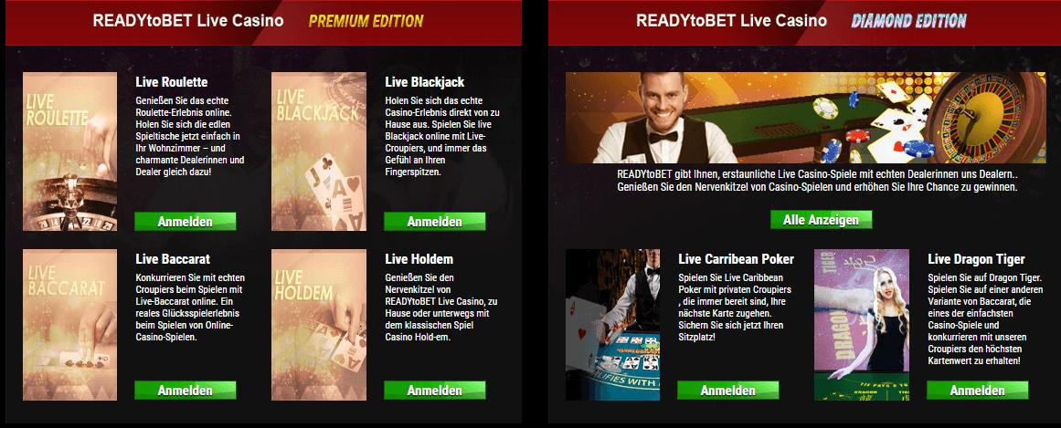 ReadyToBet Casino Anmeldung