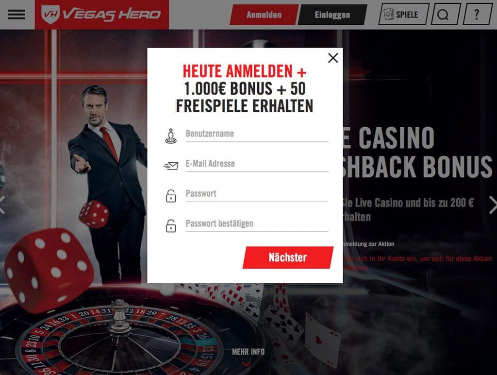 Vegas Hero Erfahrungen – Registrierung 2