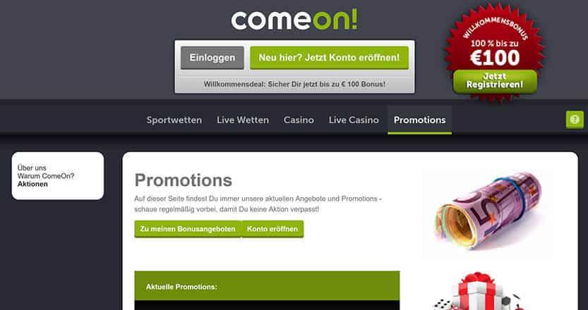 ComeOn Casino Ein- und Auszahlung