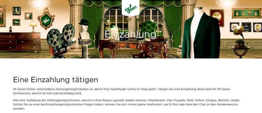 Einzahlungen - Mr Green Casino Schweiz